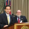 Hawaii Lt. Gov. Brian Schatz speaks the state Capitol in Honolulu on Wednesday, Dec. 26. 2012 after Gov. Neil Abercrombie, right, announced he was appointing Schatz to fill the seat vacated by the late U.S. Sen. Daniel Inouye. (AP Photo/Audrey McAvoy)