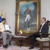 In this photo provided by Miraflores Presidential Press Office, Venezuela\'s Vice President Nicolas Maduro, left, is interviewed by Communications Minister Ernesto Villegas on state television in Caracas, Venezuela, Friday, Jan. 4, 2013. Maduro said President Hugo Chavez could be sworn in by the Supreme Court later on if he\'s not able to take the oath of office before lawmakers on Jan. 10 because of his struggle with cancer, dismissing the argument by some opposition leaders that new elections must be called if Chavez doesn\'t take office as scheduled on Thursday. Behind hangs a painting of Venezuela\'s independence hero Simon Bolivar. (AP Photo/Miraflores Presidential Office)