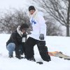 Mark Murr, 16, of Cheektowaga, N.Y., steadies a snowboard as his cousin, Irvin Murr, 11, of Orlando, Fla. focuses on his targeted path at Elma Meadows Park sledding hill on Thursday, Jan. 2, 2014 in Elma, N.Y. . A winter storm promising significant snowfall, strong winds and frigid air bore down Thursday on the Northeast, making commutes hazardous for the first work day of the new year and giving some students an extra day off school following Christmas break. (AP Photo/The Buffalo News, Robert Kirkham) TV OUT; MAGS OUT; MANDATORY CREDIT; BATAVIA DAILY NEWS OUT; DUNKIRK OBSERVER OUT; JAMESTOWN POST-JOURNAL OUT; LOCKPORT UNION-SUN JOURNAL OUT; NIAGARA GAZETTE OUT; OLEAN TIMES-HERALD OUT; SALAMANCA PRESS OUT; TONAWANDA NEWS OUT