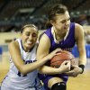 Turner\'s Taylor Foster (11), left, and Okarche\'s Madison Lee (24) battle for the ball during a Class A Girls semifinal game of the state high school basketball tournament between Okarche and Turner at Jim Norick Arena, The Big House, on State Fair Park in Oklahoma City, Friday, March 1, 2013. Photo by Nate Billings, The Oklahoman