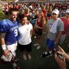 Quarterback Trevor Knight poses for a picture with Sheyenne Aimerson, Tahlequah, during the University of Oklahoma Sooners (OU) practice and Student Day at Gaylord Family-Oklahoma Memorial Stadium in Norman, Okla., on Thursday, Aug. 21, 2014. Photo by Steve Sisney, The Oklahoman