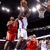 Oklahoma City\'s Serge Ibaka (9)attempts a last-second shot as Houston\'s Patrick Patterson (54) and Luis Scola (4) defend during the NBA basketball game between the Oklahoma City Thunder and the Houston Rockets at the Chesapeake Energy Arena, Tuesday, March 13, 2012. Photo by Sarah Phipps, The Oklahoman.