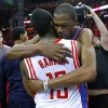 Oklahoma City\'s Kevin Durant (35) hugs Houston\'s James Harden (13) after Game 6 in the first round of the NBA playoffs between the Oklahoma City Thunder and the Houston Rockets at the Toyota Center in Houston, Texas, Friday, May 3, 2013. Oklahoma City won 103-94. Photo by Bryan Terry, The Oklahoman
