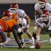 Oklahoma Sooners offensive linesman Gabe Ikard (64) lines up as center in front of UTEP\'s Marcus Bagley (8) during the college football game between the University of Oklahoma Sooners (OU) and the University of Texas El Paso Miners (UTEP) at Sun Bowl Stadium on Saturday, Sept. 1, 2012, in El Paso, Tex. Photo by Chris Landsberger, The Oklahoman
