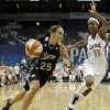 """File- This Aug. 4, 2011 file photo shows San Antonio Silver Stars guard Becky Hammon, left, driving past Minnesota Lynx guard Candice Wiggins in the first half of a WNBA basketball game in Minneapolis. Hammon\'s return from injury is critical to the team\'s fortunes. Entering her 16th season, she has career averages of 13.3 points and 3.8 assists. """"Becky makes things work,"""" coach Dan Hughes said. """"She\'s veteran enough to understand not only her position, but the totality of what we\'re doing. She can communicate it on the floor in a way that provides understanding and that\'s what your great players do."""" (AP Photo/Stacy Bengs, File)"""