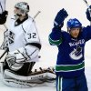 Vancouver Canucks\' Jannik Hansen, right, of Denmark, celebrates after scoring against Los Angeles Kings goalie Jonathan Quick, left, during the second period of an NHL hockey game in Vancouver, British Columbia on Saturday, March 2, 2013. (AP Photo/The Canadian Press, Darryl Dyck)