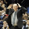 Denver Nuggets head coach George Karl reacts in the second half of an NBA basketball game against the Minnesota Timberwolves, Wednesday, Nov. 21, 2012, in Minneapolis. The Nuggets won 101-94. (AP Photo/Jim Mone)