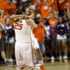 OSU\'s Tiffany Bias (3) and Lindsey Keller (25) celebrate after the Women\'s NIT championship college basketball game between Oklahoma State University and James Madison at Gallagher-Iba Arena in Stillwater, Okla., Saturday, March 31, 2012. OSU won, 75-68. Photo by Nate Billings, The Oklahoman