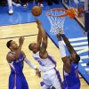 Oklahoma City\'s Caron Butler (2) shoots between Los Angeles\' Danny Granger (33) and Glen Davis (0) during Game 1 of the Western Conference semifinals in the NBA playoffs between the Oklahoma City Thunder and the Los Angeles Clippers at Chesapeake Energy Arena in Oklahoma City, Monday, May 5, 2014. Photo by Bryan Terry, The Oklahoman
