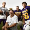 Photo -  HIGH SCHOOL FOOTBALL: Head coach Brooks Mosier poses with quarterback Parker Burnett, running back Bryan Owen, and wide receiver Taylor Daniels at Community Christian School on Tuesday, Sept. 18, 2007, in Norman, Okla.   By STEVE SISNEY, The Oklahoman  ORG XMIT: KOD