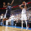 Oklahoma City\'s Thabo Sefolosha shoots the ball as Memphis\' Tony Allen defends during Game 2 in the second round of the NBA playoffs between the Oklahoma City Thunder and the Memphis Grizzlies at Chesapeake Energy Arena In Oklahoma City, Tuesday, May 7, 2013. Photo by Bryan Terry, The Oklahoman