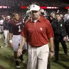 OU coach Bob Stoops walks off the field after OU\'s loss in the college football game between the University of Oklahoma (OU) and Texas A&M University at Kyle Field in College Station, Texas, on Saturday, Nov. 6, 2010. Photo by Bryan Terry, The Oklahoman ORG XMIT: KOD