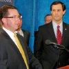 House Speaker Kris Steele, R-Shawnee, left announces proposed legislation Monday that is intended to significantly improve the Department of Human Services as Rep. Jason Nelson, R-Oklahoma City, one of four House members who worked on the proposals watches. PHOTO BY MICHAEL MCNUTT, THE OKLAHOMAN