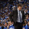 Thunder head coach Scott Brooks reacts during game 3 of the Western Conference Finals of the NBA basketball playoffs between the Dallas Mavericks and the Oklahoma City Thunder at the OKC Arena in downtown Oklahoma City, Saturday, May 21, 2011. Photo by Sarah Phipps, The Oklahoman