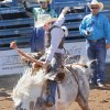 Garrett Griffin, from Tularosa, NM, in the Saddle Bronc at the International Finals Youth Rodeo in Shawnee, Friday, July 11, 2014. Photo by David McDaniel, The Oklahoman