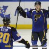 St. Louis Blues\' Vladimir Tarasenko (91), of Russia, celebrates with teammate Alexander Steen (20) after his game-tying goal against the Chicago Blackhawks during the third period in Game 2 of a first-round NHL hockey playoff series, Saturday, April 19, 2014, in St. Louis. (AP Photo/Bill Boyce)