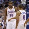 Oklahoma City\'s Kevin Durant (35) and Russell Westbrook (0) react during Game 4 of the Western Conference Finals between the Oklahoma City Thunder and the San Antonio Spurs in the NBA playoffs at the Chesapeake Energy Arena in Oklahoma City, Saturday, June 2, 2012. Oklahoma CIty won 109-103. Photo by Bryan Terry, The Oklahoman