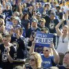 St. Louis Blues fans cheer prior to Game 1 of the Blues\' first-round NHL hockey Stanley Cup playoff series against the Los Angeles Kings, Tuesday, April 30, 2013, in St. Louis. (AP Photo/Bill Boyce)