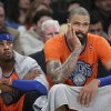 New York Knicks center Tyson Chandler, right, and guard Toure\' Murry watch during the second half of Knicks\' NBA basketball game against the Oklahoma City Thunder at Madison Square Garden, Wednesday, Dec. 25, 2013, in New York. The Thunder won 123-94. (AP Photo/John Minchillo)