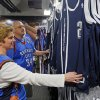 Bethany Brown and Cliff Brown look at the new alternate Thunder uniforms before an NBA basketball game between the Detroit Pistons and the Oklahoma City Thunder at the Chesapeake Energy Arena in Oklahoma City, Friday, Nov. 9, 2012. Photo by Nate Billings, The Oklahoman
