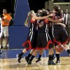 Frontier celebrates their state championship over Okarche in the Class A girls state championship high school basketball game between Okarche and Frontier at the State Fair Arena in Oklahoma City, Saturday, March 3, 2012. Photo by Sarah Phipps, The Oklahoman