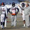 Photo - Denver Broncos linebackers coach Richard Smith, right, instructs his players during NFL football practice at the team's training facility in Englewood, Colo., on Thursday, Jan. 23, 2014. The Broncos are scheduled to play the Seattle Seahawks in Super Bowl XLVIII on Feb. 2. (AP Photo/Ed Andrieski)