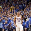 Oklahoma City\'s Russell Westbrook (0) reacts after a three point shot during Game 1 of the NBA Finals between the Oklahoma City Thunder and the Miami Heat at Chesapeake Energy Arena in Oklahoma City, Tuesday, June 12, 2012. Photo by Chris Landsberger, The Oklahoman