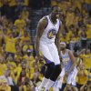 Golden State Warriors\' Draymond Green (23) ceelbrates after scoring against the Denver Nuggets during the first half of Game 6 in a first-round NBA basketball playoff series, Thursday, May 2, 2013, in Oakland, Calif. (AP Photo/Ben Margot)