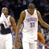 Oklahoma City \'s Kevin Durant (35) and Serge Ibaka (9) react after their loss following the NBA game between the Oklahoma City Thunder and the Los Angeles Clippers at the Chesapeake Energy Arena, Sunday, Feb. 23, 2014. Photo by Sarah Phipps, The Oklahoman