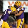 Photo -   LSU running back Jeremy Hill (33) celebrates his touchdown with center Ben Domingue (61) in the second half of their NCAA college football game in Baton Rouge, La. Saturday, Sept. 15, 2012. LSU won 63-14. (AP Photo/Gerald Herbert)