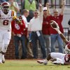 Oklahoma\'s Dakota Austin (27) makes an interception in front of Iowa State\'s Tad Ecby (6) during the college football game between the University of Oklahoma Sooners (OU) and the Iowa State University Cyclones (ISU) at Gaylord Family-Oklahoma Memorial Stadium in Norman, Okla. on Saturday, Nov. 16, 2013. Photo by Chris Landsberger, The Oklahoman
