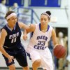 Deer Creek\'s Ashley Gibson dribbles past Enid\'s Abby Lee during the girls high school basketball game between Enid and Deer Creek at the Bruce Gray Invitational at Deer Creek High School, Saturday,Jan. 26, 2013.Photo by Sarah Phipps, The Oklahoman