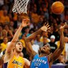 Oklahoma City\'s Serge Ibaka (9) and Los Angeles\' Pau Gasol (16) chase a rebound during Game 3 in the second round of the NBA basketball playoffs between the L.A. Lakers and the Oklahoma City Thunder at the Staples Center in Los Angeles, Saturday, May 19, 2012. Photo by Nate Billings, The Oklahoman