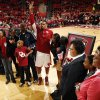 Oklahoma\'s Romero Osby (24) waves as he and his family are introduced before the game on Senior Day as the University of Oklahoma Sooners (OU) men play the Iowa State Cyclones in NCAA, college basketball at Lloyd Noble Center on Saturday, March 2, 2013 in Norman, Okla. Photo by Steve Sisney, The Oklahoman