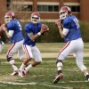 COLLEGE FOOTBALL: Trevor Knight (9) Kendal Thompson (1) and Blake Bell (10) throw during Sooner spring football drills at University of Oklahoma (OU) on Tuesday, March 12, 2013 in Norman, Okla. Photo by Steve Sisney, The Oklahoman