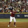Oklahoma\'s Michelle Gascoigne (32) celebrates the Sooner\'s championship during Women\'s College World Series softball game between Oklahoma and Tennessee at ASA Hall of Fame Stadium in Oklahoma City,Tuesday, June, 4, 2013. Photo by Sarah Phipps, The Oklahoman