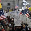 Demonstrators rally outside the Capitol in Albany, N.Y., on Saturday, Jan. 19, 2013 to assert their right to own firearms and to denounce recent gun-control efforts. Gun owners say they are gathering at the state Capitol for one of a slate of firearms-rights demonstrations around the nation. New York this week passed the nation\'s toughest assault weapon and magazine restrictions. (AP Photo/Tim Roske)
