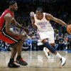 Oklahoma City\'s Kevin Durant dribbles around Miami\'s LeBron James during their NBA basketball game at the OKC Arena in Oklahoma City on Thursday, Jan. 30, 2011. The Heat beat the Thunder 108-103. Photo by John Clanton, The Oklahoman