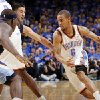 Oklahoma City\'s Eric Maynor (6) tries to get past Zach Randolph (50) of Memphis, left, as Nazr Mohammed (8) of Oklahoma City screens Greivis Vasquez (21) of Memphis in the first half during game 7 of the NBA basketball Western Conference semifinals between the Memphis Grizzlies and the Oklahoma City Thunder at the OKC Arena in Oklahoma City, Sunday, May 15, 2011. Photo by Nate Billings, The Oklahoman