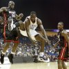 Oklahoma City\'s Jeff Green loses control of the ball after a foul between Miami\'s Joel Anthony, left, and Mario Chalmers during an NBA preseason game between the Oklahoma City Thunder and the Miami Heat at the BOK Center in Tulsa, Okla., Wednesday, October 14, 2009. Photo by Bryan Terry, The Oklahoman