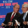 Photo - New York City mayor Michael Bloomberg, left, and NBA commissioner David Stern share a moment during a press conference Wednesday Sept. 25, 2013, in New York, announcing the selection of the city to host the NBA All-Star game in 2015. The 64th NBA All-Star game is scheduled to be played at New York's Madison Square Garden Sunday Feb. 15, 2015 with Friday and Saturday night events being held at the Barclays Center in the Brooklyn borough of New York. (AP Photo/Tina Fineberg)