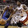 Oklahoma City\'s Kevin Durant (35) tries to get past Miami\'s Udonis Haslem (40) during Game 3 of the NBA Finals between the Oklahoma City Thunder and the Miami Heat at American Airlines Arena, Sunday, June 17, 2012. Photo by Bryan Terry, The Oklahoman