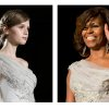 FILE - This two-picture combo of file photos shows a model walking the runway during the Marchesa Fall 2013 fashion show at Fashion Week in New York, Feb. 13, 2013, left, and first lady Michelle Obama waving as she arrives at the White House Correspondents\' Association (WHCA) Dinner in Washington, May 2, 2014. First lady Michelle Obama in a Marchesa gown at the White House Correspondents' Association dinner, her gown was a custom version of a dress from the Marchesa Fall 2013 collection shown on the runway. (AP Photo/File)