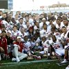 The Sooners pose for a team photo after the 31-27 win over Stanford in the Brut Sun Bowl college football game between the University of Oklahoma Sooners (OU) and the Stanford University Cardinal on Thursday, Dec. 31, 2009, in El Paso, Tex. Photo by Chris Landsberger, The Oklahoman