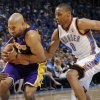 GAME THREE / L.A. LAKERS: L.A.\'s Derek Fisher (2) tries to get past Russell Westbrook (0) of Oklahoma City during the NBA basketball game between the Los Angeles Lakers and the Oklahoma City Thunder in the first round of the NBA playoffs at the Ford Center in Oklahoma City, Thursday, April 22, 2010. Oklahoma City won, 101-96. Photo by Nate Billings, The Oklahoman ORG XMIT: KOD