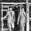 State Sen. Gene Stipe, right, and his attorney, James Linn, leave Oklahoma City federal court Monday after the first day of the extortion trial of Stipe and Chickasha attorney Red Ivy. Staff photo by Paul B. Southerland taken 8/10/81; photo ran in the 8/11/81 Oklahoma City Times.