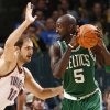 Oklahoma City\'s Nenad Krstic (12) pressures Boston\'s Kevin Garnett during the NBA basketball game between the Oklahoma City Thunder and the Boston Celtics, Sunday, Nov. 7, 2010, at the Oklahoma City Arena. Photo by Sarah Phipps, The Oklahoman