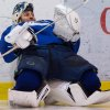 Vancouver Canucks\' goalie Roberto Luongo stretches before an informal hockey practice with his teammates at the University of British Columbia in Vancouver, British Columbia on Friday Jan. 11, 2013. (AP Photo/The Canadian Press, Darryl Dyck)