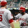 Photo - Los Angeles Angels' Howie Kendrick (47) is congratulated by David Freese (6) following his solo home run against the Texas Rangers during the second inning of a baseball game, Saturday, Aug. 16, 2014, in Arlington, Texas. (AP Photo/Jim Cowsert)