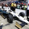 Photo - Ed Carpenter pulls in after winning the pole during qualifications for the Indianapolis 500 IndyCar auto race at the Indianapolis Motor Speedway in Indianapolis, Sunday, May 18, 2014. (AP Photo/Michael Conroy)